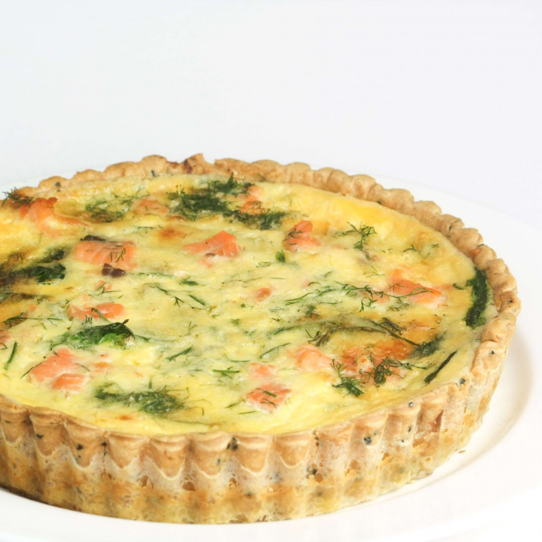 Quiche: Poached Salmon, Spinach and Dill